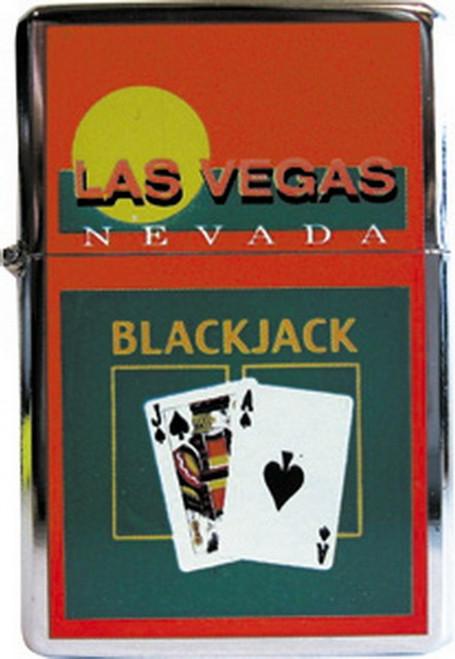 Las Vegas Black Jack Orange Refillable Metal Lighter ZP-0335