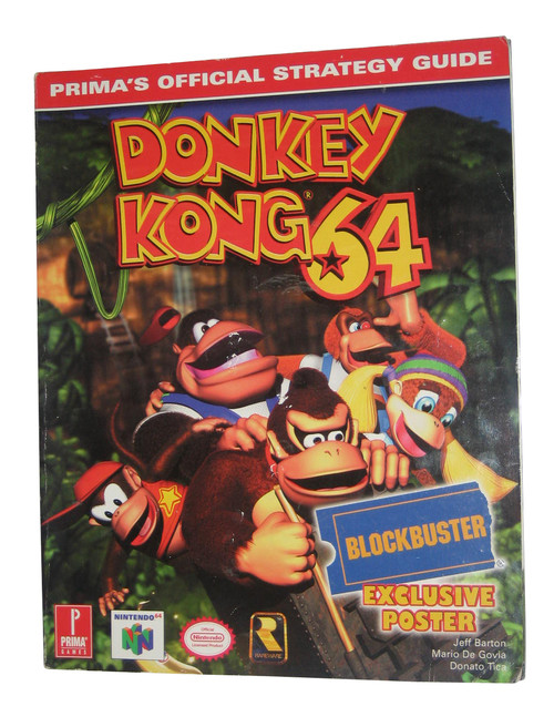 Donkey Kong 64 Prima Games Official Strategy Guide Book w/ Poster