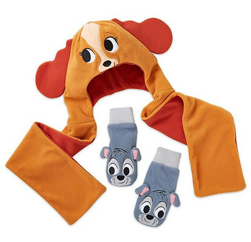 Disney Lady And The Tramp Hat Scarf Gloves Warmwear Set - (Size XS/Small)