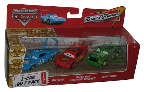 Disney Cars Race-O-Rama 3-Car Toy Gift Pack - (The King / Chick Hicks / Finish Line Lightning McQueen)