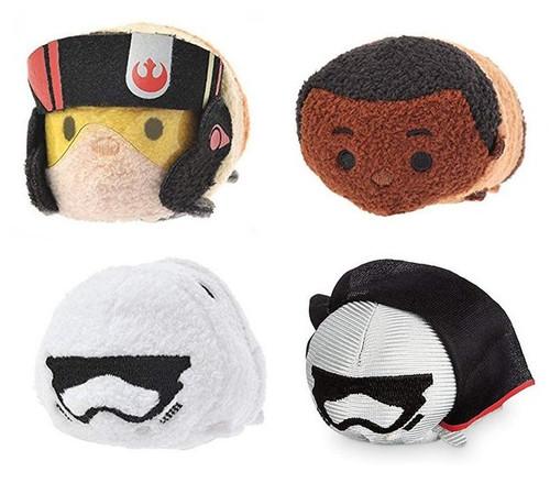 Star Wars Force Awakens Tsum Tsum 4pc Toy Plush Set - (Finn / Poe / Captain Phasma / Stormtrooper)