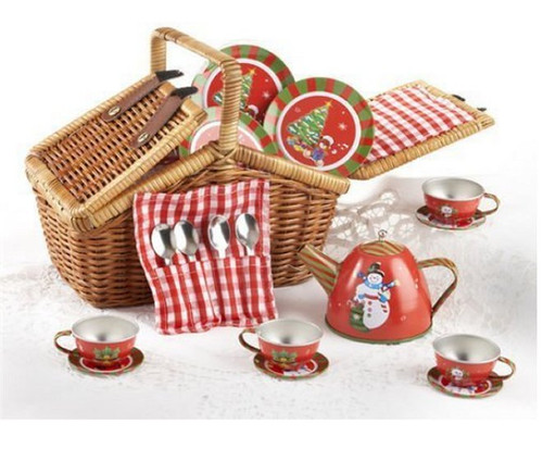 Delton 18 Piece Holiday Snowman Tin Tea Basket Set
