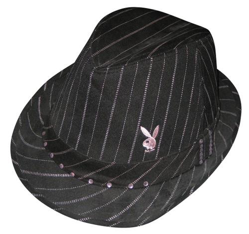 Playboy Womens Pinstriped Pink Jewels Bunny Logo Fedora Trilby Hat