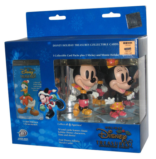 Disney Holiday Treasures Upper Deck Mickey & Minnie Mouse On Ice Figure & Card Set