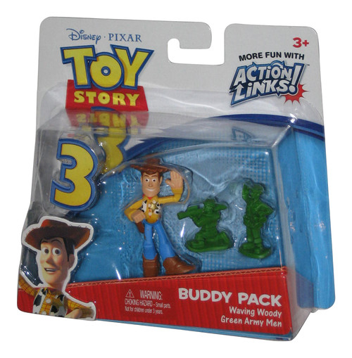 Toy Story 3 Buddy Pack Waving Woody & Green Army Men Action Links Figure Set