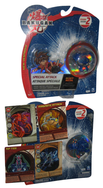 Bakugan Special Attack Heavy Metal (2008) Season 2 Toy Lot w/ Cards