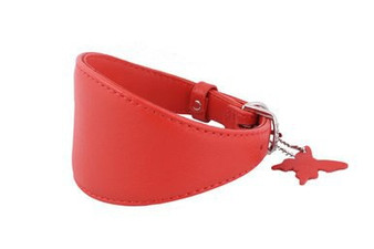 Leather Greyhound Collar Red