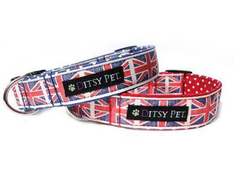 Ditsy Pet Union Jack Collar Blue
