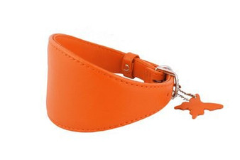 Leather Greyhound Collar Orange