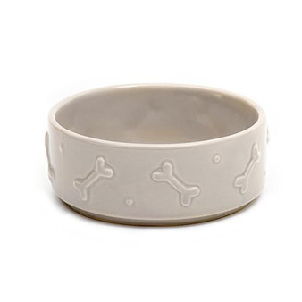 Mutts & Hounds Ceramics Dog Bowl French Grey Large
