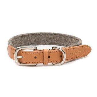 Camello Leather & Grey Tweed Dog Collar