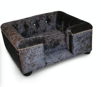 Luxury Ebony Crushed Velvet Dog Bed Medium
