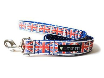 Ditsy Pet Union Jack Blue Lead