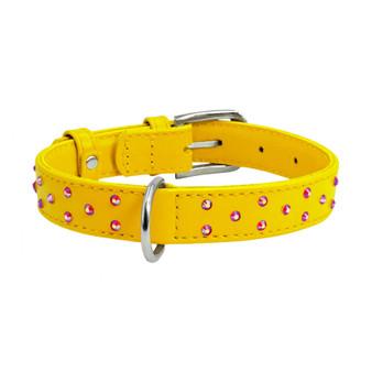 Leather Collar Diamante Yellow