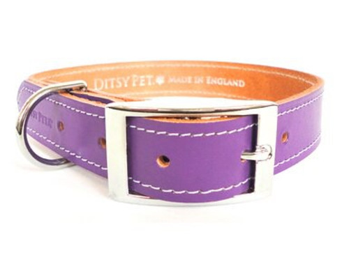 Ditsy Pet Purple Leather Collar