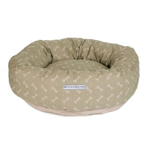 Mutts & Hounds Sage Linen Donut Bed Medium