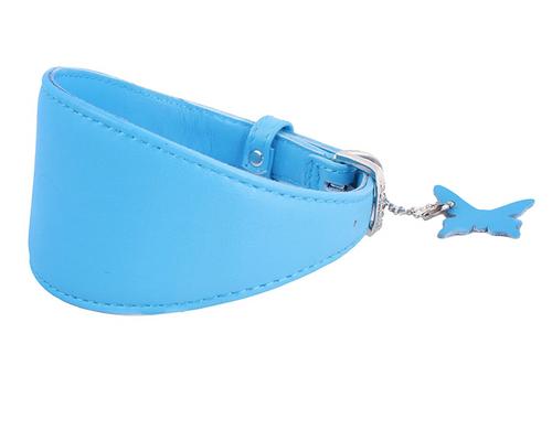 Leather Greyhound Collar Blue