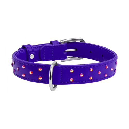 Leather Collar Diamanté Purple