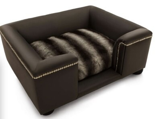 Luxury Black Faux Leather & Siberian Dog Bed Large