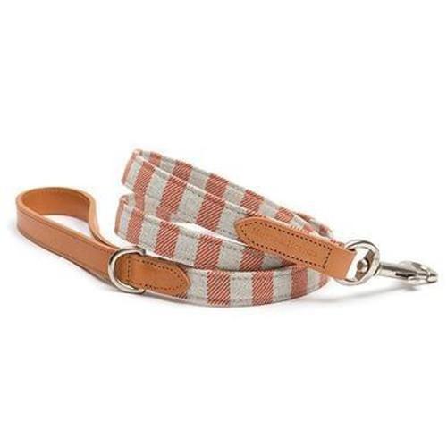 Camello Leather & Orange Stripe Dog Lead