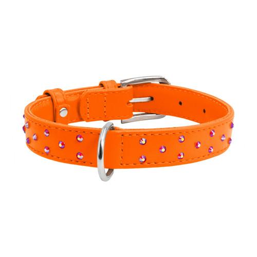 Leather Collar Diamante Orange
