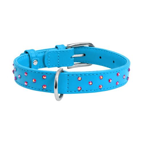Leather Collar Diamante Blue