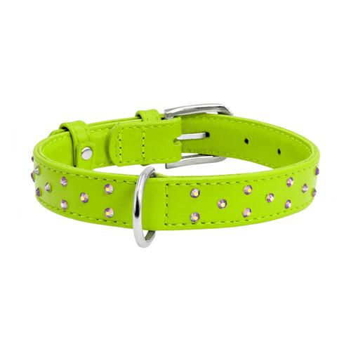 Leather Collar Diamante Green