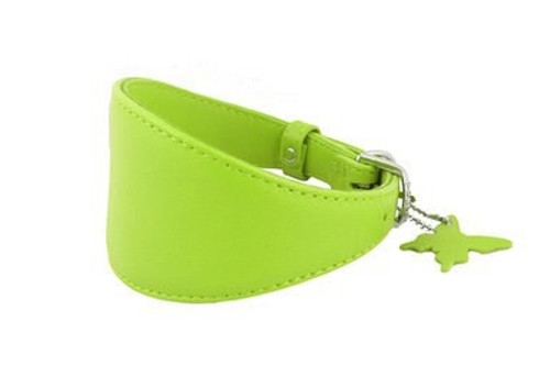 Leather Greyhound Collar Green