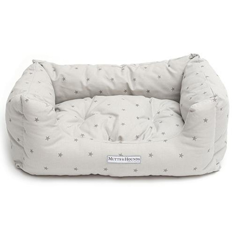 Mutts & Hounds Boxy Bed Grey Stars