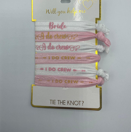 Will You Help Me Tie The Knot Hair Ties, 6 count, Pinks, Package of 4