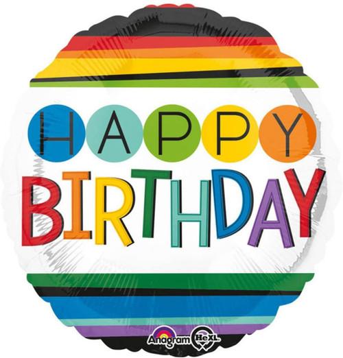 Burton & Burton Rainbow Happy Birthday Foil/Mylar Balloon