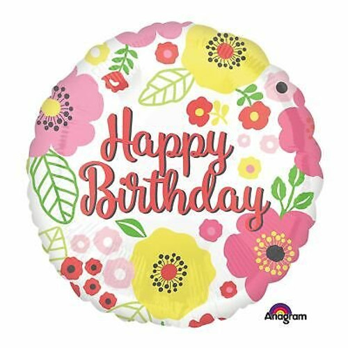 Anagram Floral Happy Birthday Large Foil Balloon w/ Pink Flowers