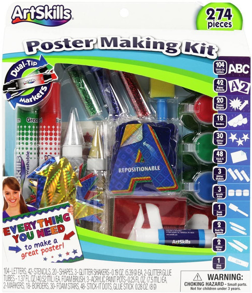 ArtSkills Poster Making Kit Arts and Crafts Supplies Includes Washable Markers, Stencils, Letters, Glitter, Glue, and More, 274 Pieces, Multi-Colored