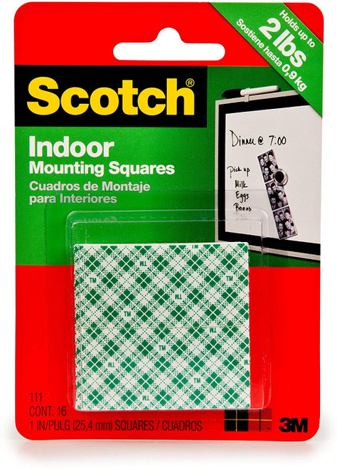 Scotch Permanent Mounting Squares, 4 Squares holds up to 1 lb, 16 x 1-in Squares, White (111)