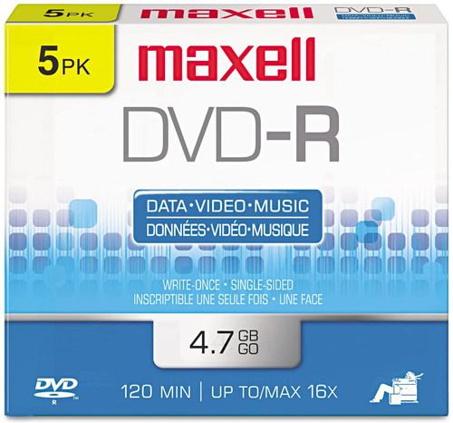 Maxell 638002 DVD-R Discs, 4.7GB, 16x, w/Jewel Cases, Gold, 5/Pack