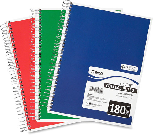 """Mead Spiral Notebook, 5 Subject, College Ruled Paper, 180 Sheets, 10-1/2"""" x 8"""", Color Selected For You (05682)"""