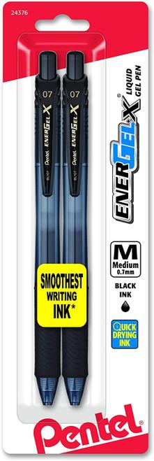 Pentel EnerGel-X Retractable Liquid Gel Pen 0.7mm, Metal Tip, Medium, Black Ink, Pack of 2 (BL107BP2A)