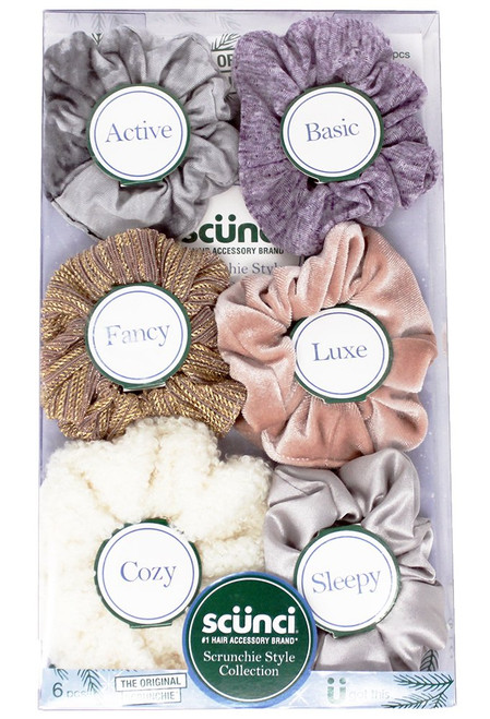 Scunci The Original Scrunchie Style Collection Gift Set, 6 count