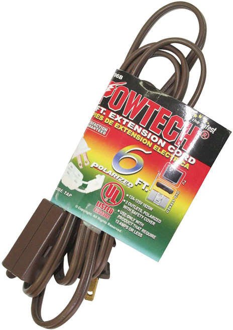 POWTECH UL Heavy duty Household Extension Cord, 16 Gauge Power Cord with 3 Recepacle Cube Tap 125V, 13 Amps, 1625 W - 6 FT Brown