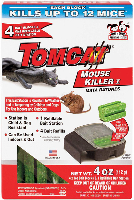 Tomcat Mouse Killer I Tier 1 Refillable Mouse Bait Station, 1 Station with 4 Baits (Box)