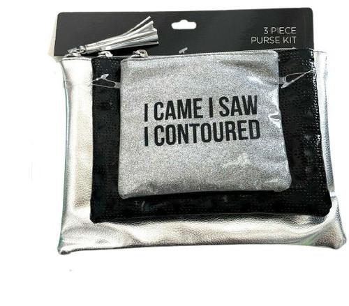 "Three Piece Purse Kit "" I came I Saw I Contoured"" Silver & Black"