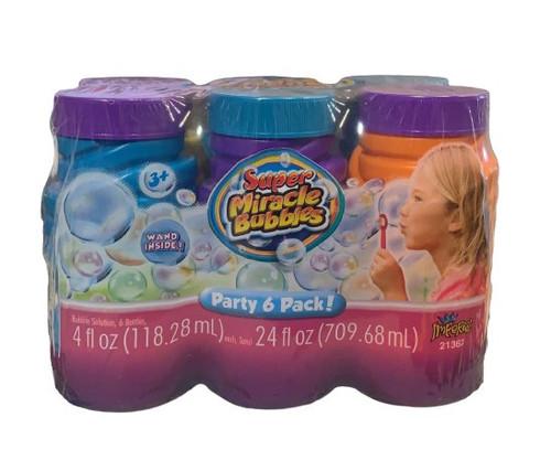 Super Miracle Bubbles 4 fl oz Each Bottle, Party 6 pack,  PACKAGE OF 2