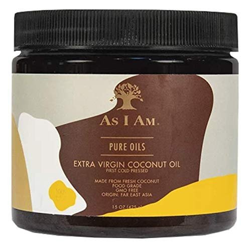 As I Am Pure Oils Extra Virgin Coconut Oil - 15 ounce - Cold Pressed - 100% Pure and Unrefined Cocos Nucifera Oil - Sourced from Fresh Coconuts Flown in from Far East Asia