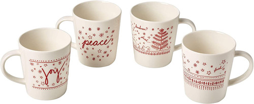 Royal Doulton Ellen Degeneres Holiday Accent Mugs, Mixed, Set of 4, White, Porcelain, 475ml, Multi