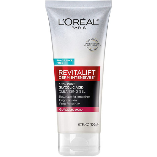 L'Oreal Paris Skincare Revitalift Derm Intensives Gel Cleanser with 3.5% Pure Glycolic Acid, Salicylic Acid to resurface and prep skin for serum, 6.7 fl oz