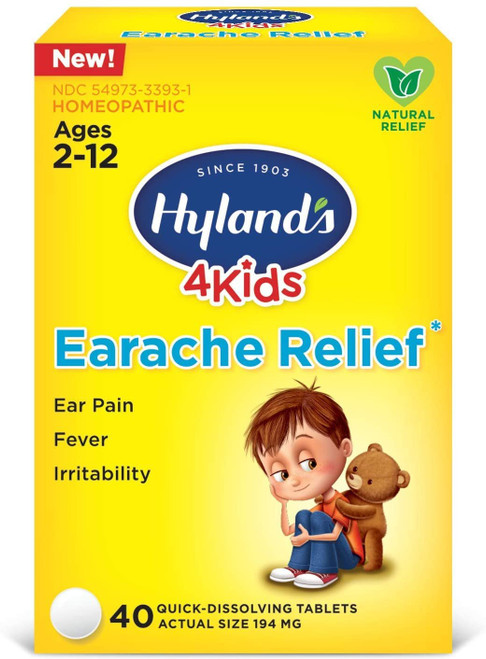 Swimmers Ear Relief Tablets by Hyland's, Fast Natural Homeopathic Pain Relief of Cold & Flu Earaches, Swimmers Ear, and Allergies, 40 Count