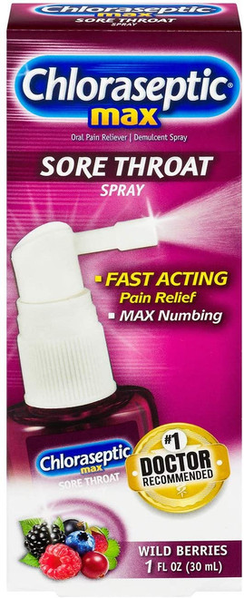 Chloraseptic Max Strength Sore Throat Spray, Wild Berries Flavor, 1.0 fl oz