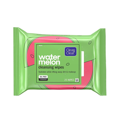 Clean & Clear Hydrating Pre-Moistened Daily Facial Cleansing Wipes to Remove Makeup, Dirt & Impurities, Oil-Free, Convenient & Travel-Friendly, Watermelon, 25 Count
