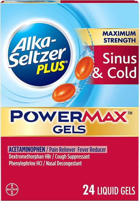 ALKA-SELTZER PLUS Maximum Strength PowerMax Sinus and Cold Medicine, Liquid Gels For adults with Pain Reliever, Fever Reducer, Cough Suppressant, Nasal Decongestant, 24 Count