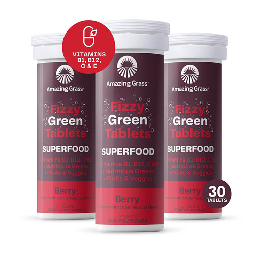 Amazing Grass Fizzy Green Tablets Superfood: Green Superfood Water Flavoring Tablet with Antioxidants & Alkalizing Greens, Berry, 30 Count